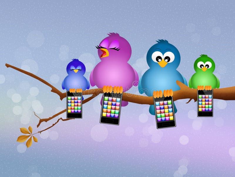 Vogels met cellulair stock illustratie