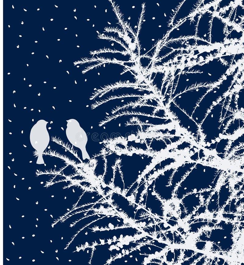 Vogels op de spartakken in december stock illustratie