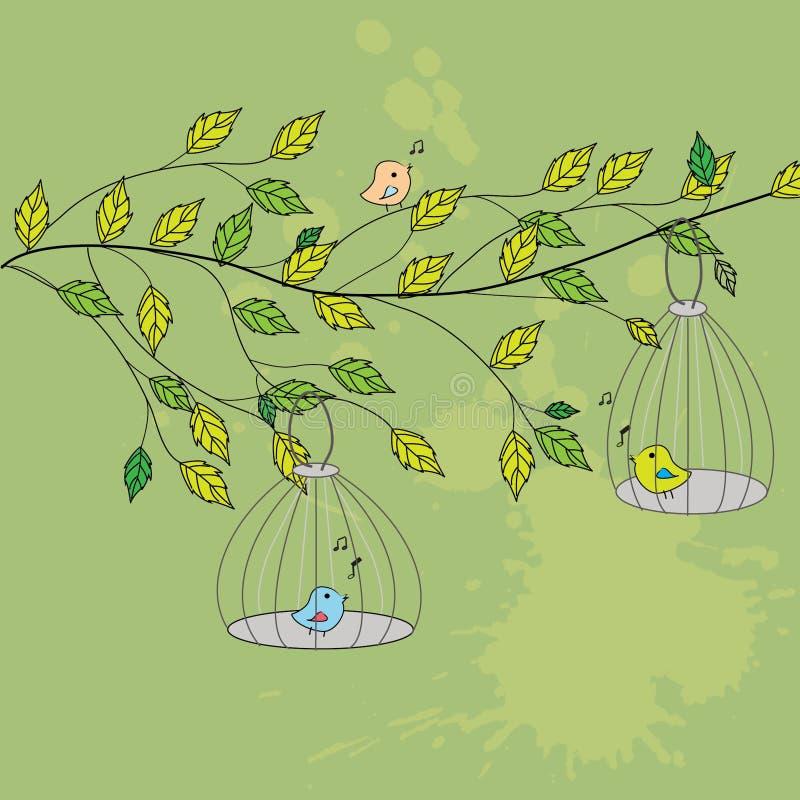 Vogels op de tak royalty-vrije illustratie