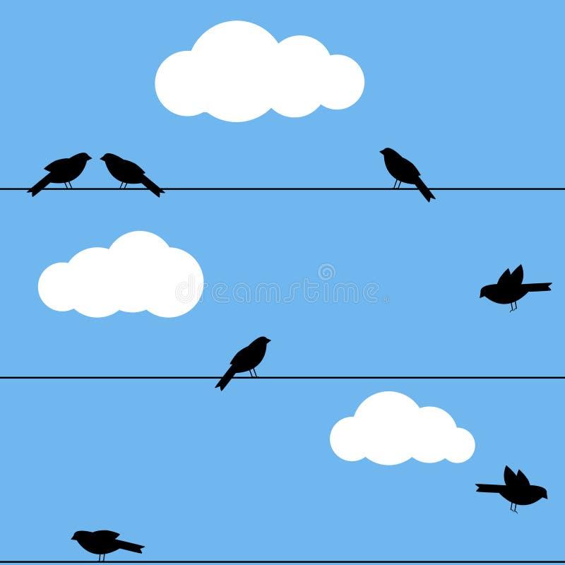 Vogels op draad royalty-vrije illustratie