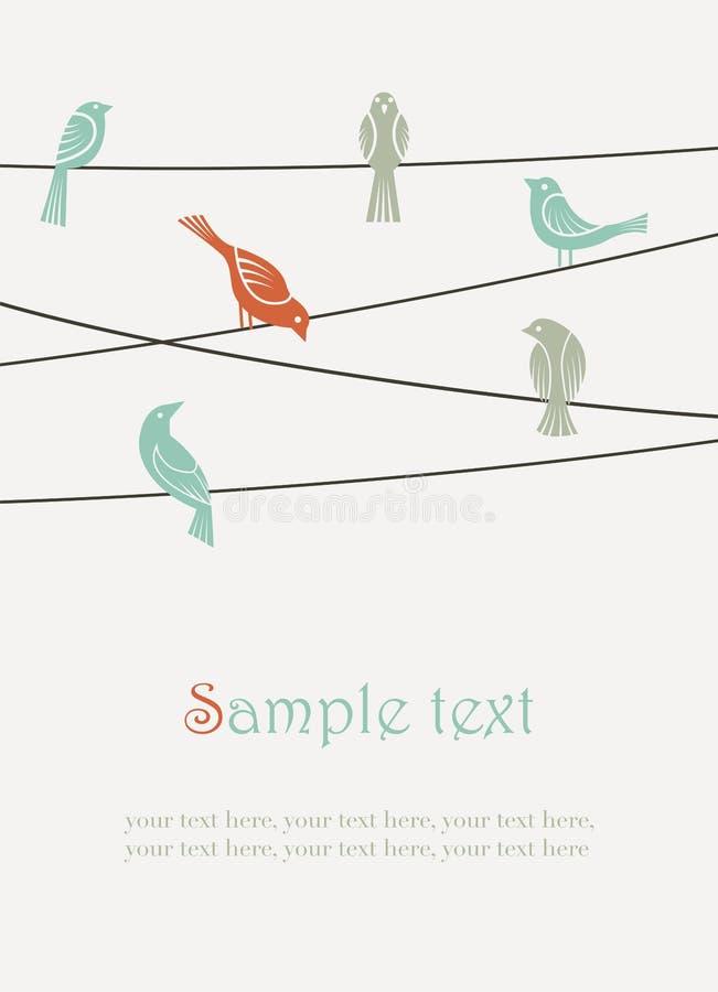 Vogels op draden stock illustratie