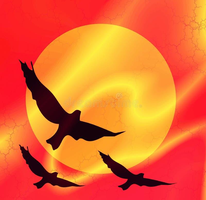 Vogels op een achtergrond van de zon stock illustratie