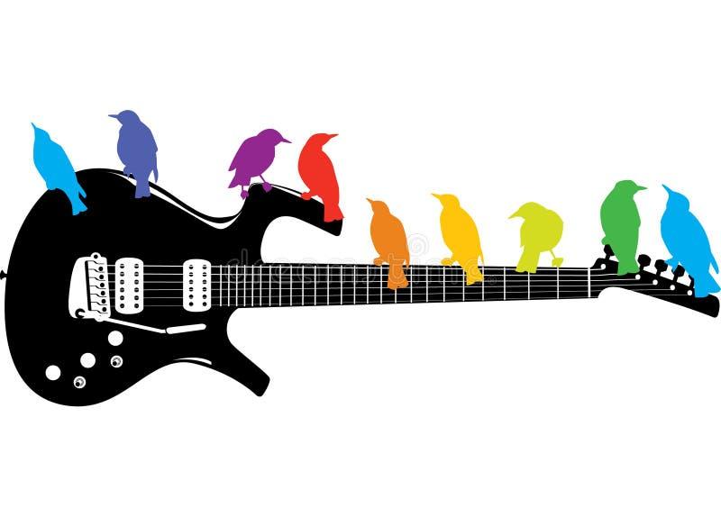 Vogels op een gitaar stock illustratie