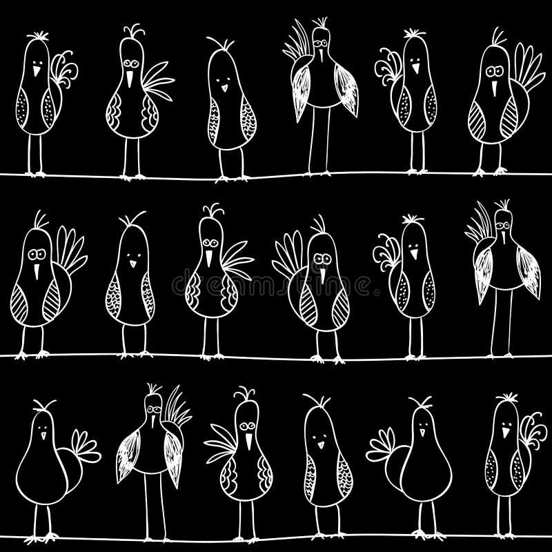 Vogels op naadloze draden vector illustratie