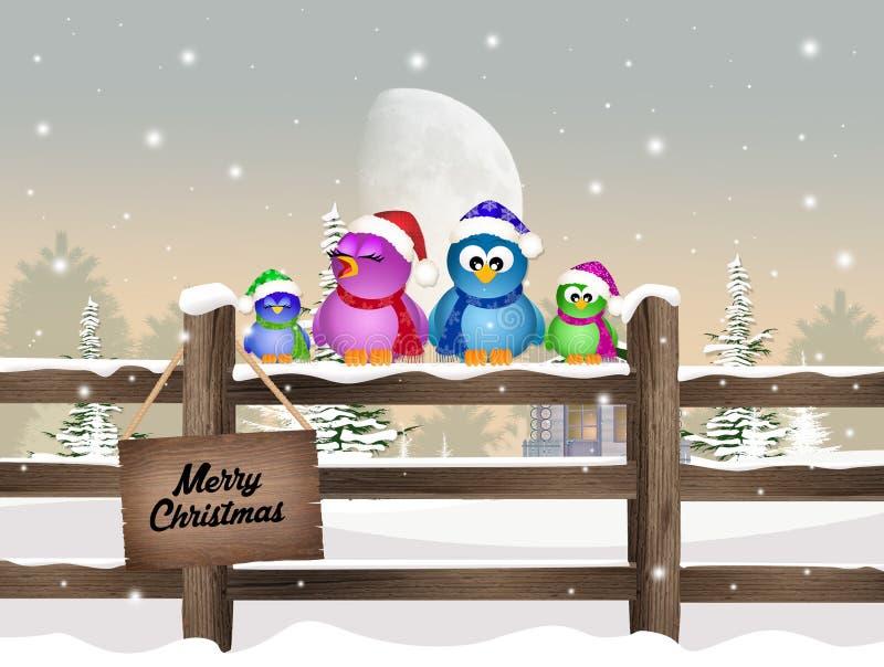 Vogels op omheining in de winter royalty-vrije illustratie