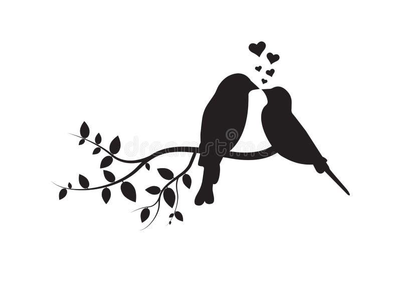 Vogels op Tak, Muuroverdrukplaatjes, Paar van Vogels in Liefde, Vogelssilhouet op tak en Hartenillustratie royalty-vrije illustratie