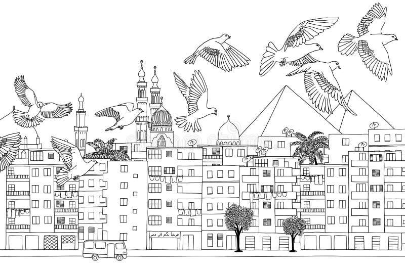 Vogels over Kaïro vector illustratie