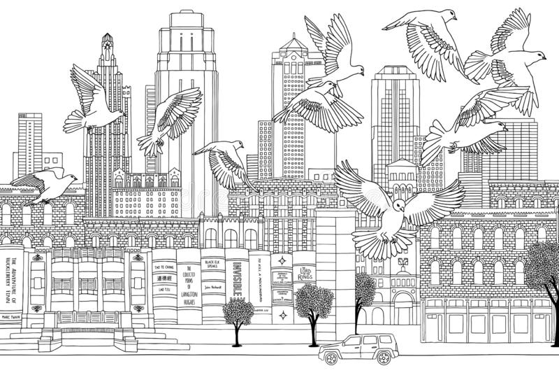 Vogels over Kansas City stock illustratie