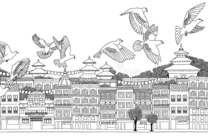 Vogels over Katmandu royalty-vrije illustratie
