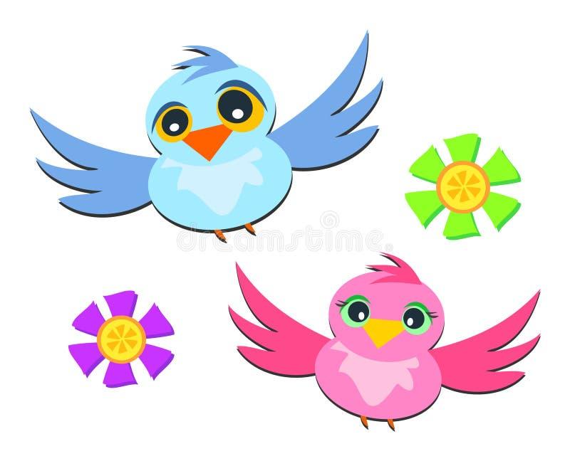 Vogels tijdens de vlucht royalty-vrije illustratie