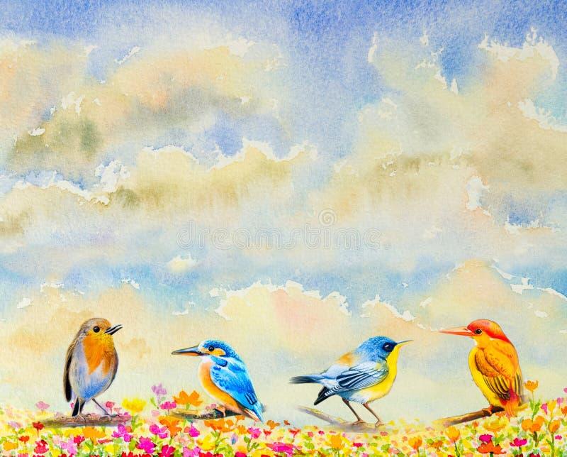 Vogels van de groeps de leuke baby op takkenwaterverf het schilderen royalty-vrije illustratie