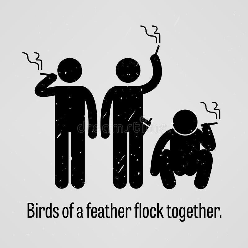 Vogels van een Gezegde van de Veertroep samen stock illustratie