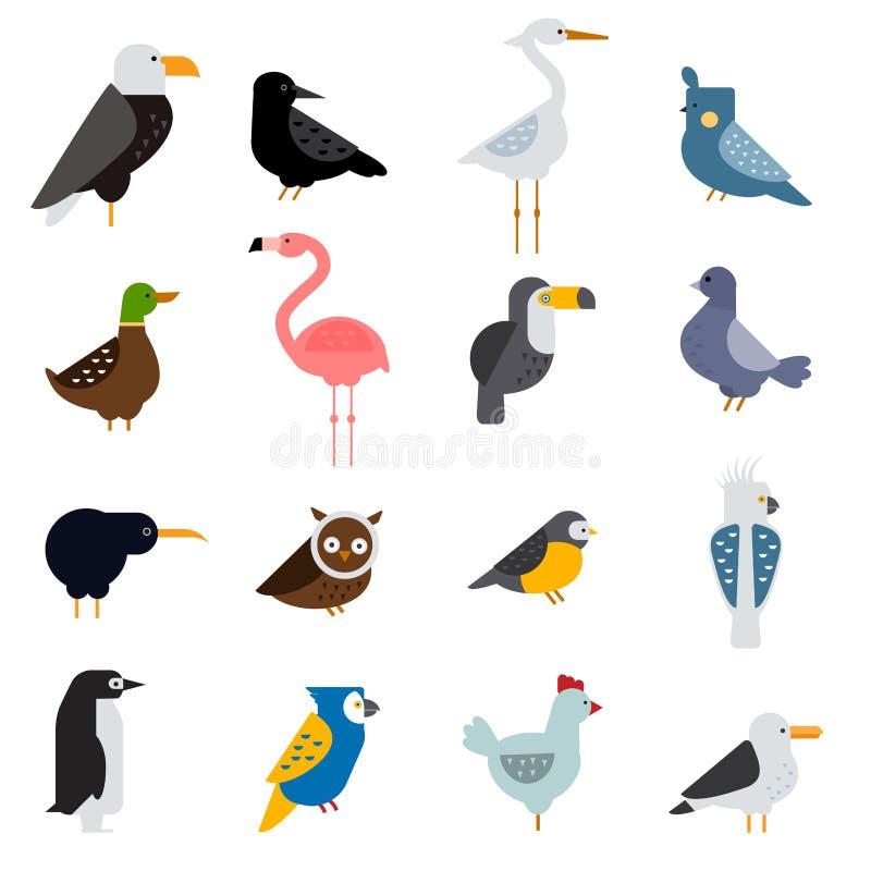 Vogels vector vastgestelde illustratie Egle, papegaai, duif en toekan Pinguïnen, flamingo's, kraaien, pauwen Zwart hoen vector illustratie