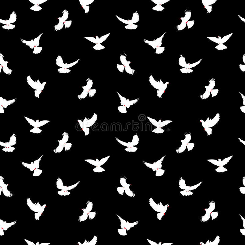 Vogelschattenbilder - fliegendes nahtloses Muster Taube mit einem roten Schnabel und den Beinen stock abbildung