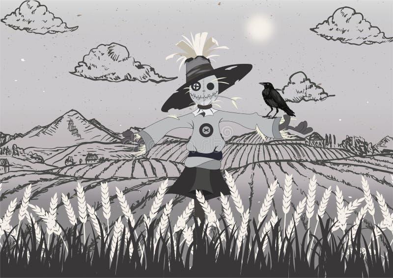 Vogelscheuche auf dem Feldschwarzen und Graues vektor abbildung