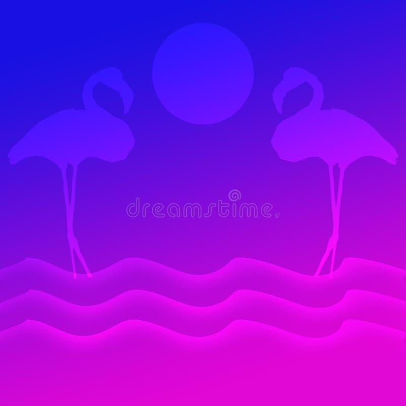 Vogelsflamingo's die en zich vóór Zon over de van de overzeese Achtergrond meerillustratie bevinden vliegen stock illustratie
