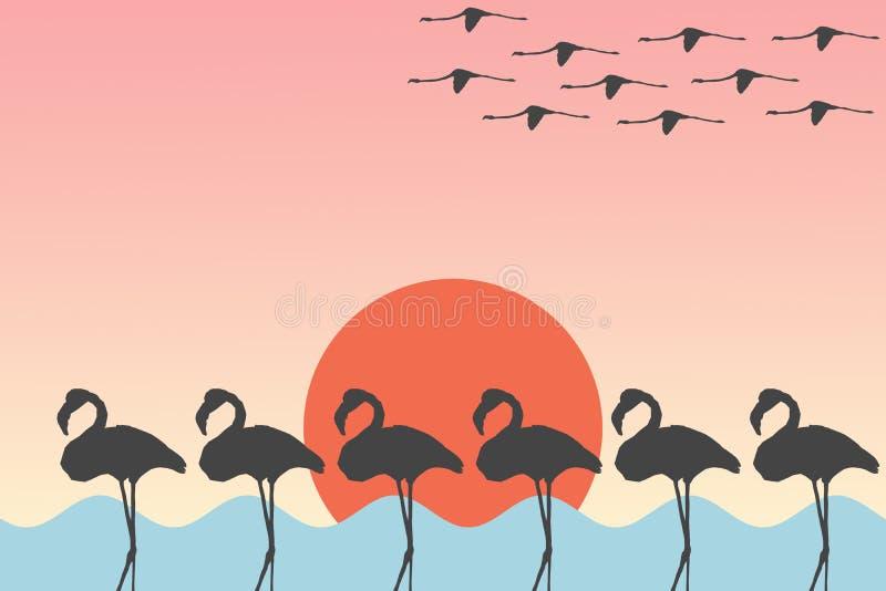 Vogelsflamingo's die en zich vóór Zon over de van de overzeese Achtergrond meerillustratie bevinden vliegen vector illustratie