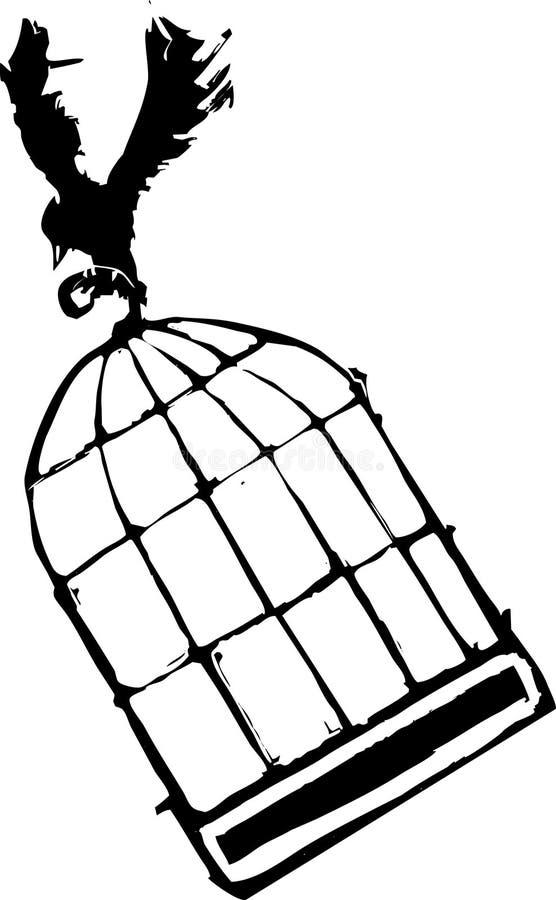 Vogeltragender Birdcage vektor abbildung