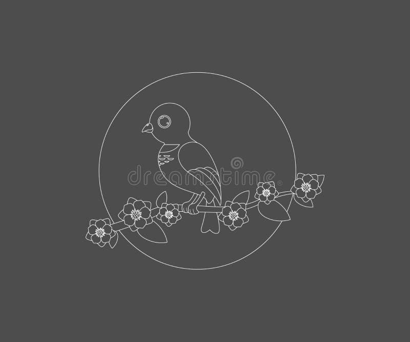 Vogelzitting op een vector van het het pictogramembleem van de boomtak mooie vector illustratie