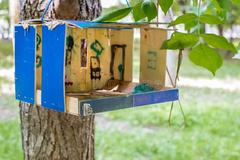 Vogelzufuhr, die an einem Baum in Moskau, Russland hängt lizenzfreie stockbilder