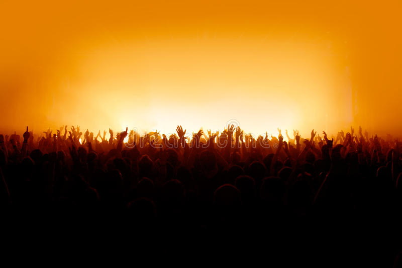 Voglio vedere le vostre mani - folla di concerto immagini stock libere da diritti
