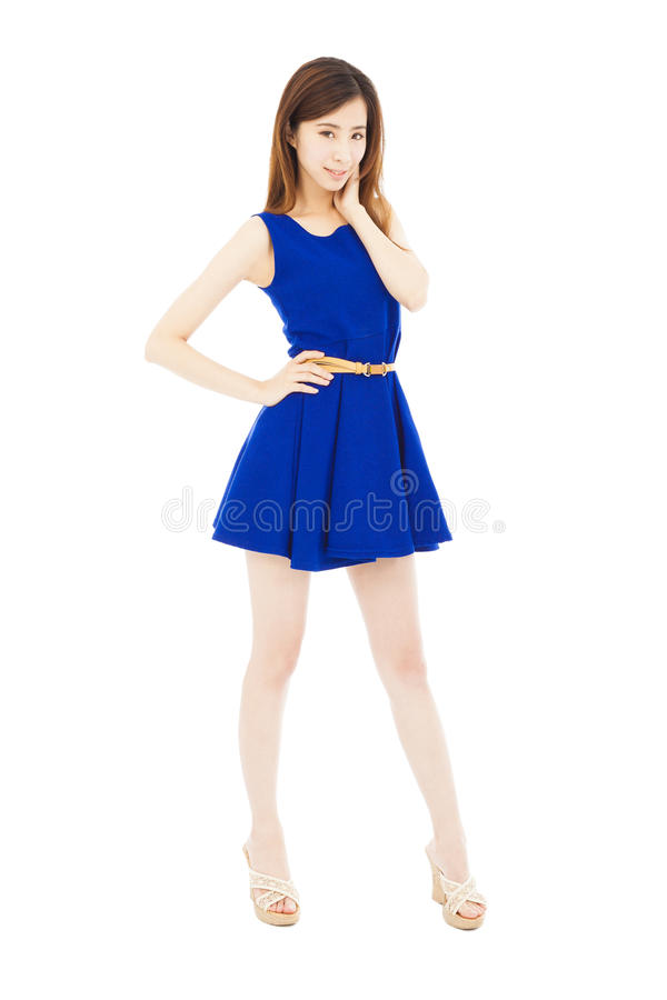 Download Vogue Girl Standing And Hand On His Waist. Isolated On White Stock Image - Image: 41046253