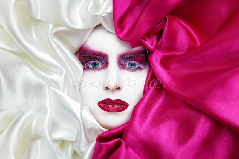 Vogue Make Up In White And Pink Stock Photo