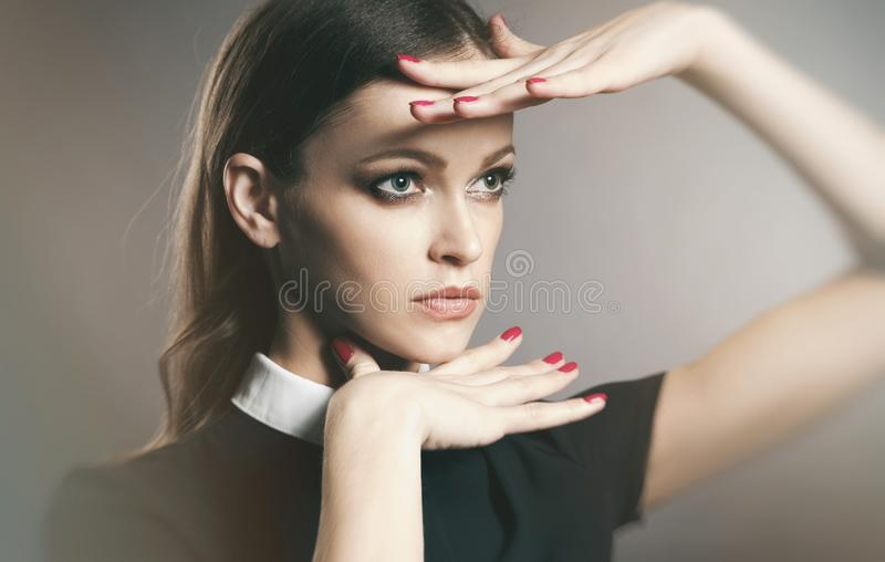 Vogue portrait of a beautiful wooman face. Close up stock images