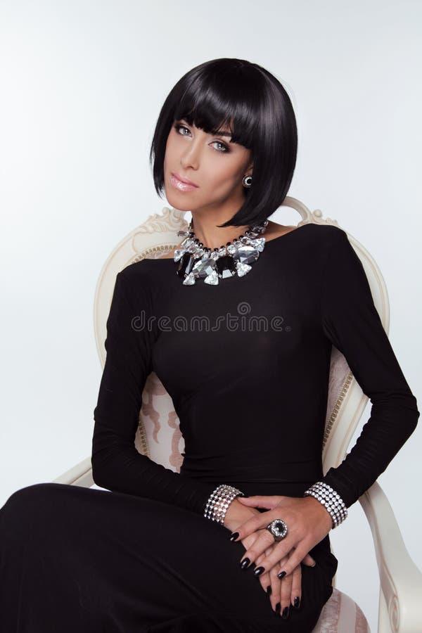 Download Vogue Style. Fashion Elegant Woman In  Black Dress. Stock Image - Image: 34074335