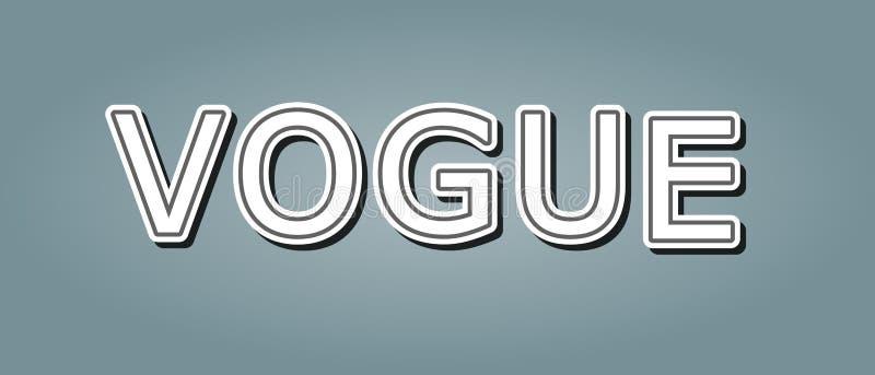 Vogue wiadomości teksta projekt dla pojęcie ikony koszulki druku również zwrócić corel ilustracji wektora ilustracja wektor