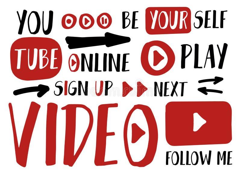Voi autoadesivi del giocatore del tubo per vlog, il blogging o il video insieme dei bottoni del canale Illustrazione di vettore I royalty illustrazione gratis