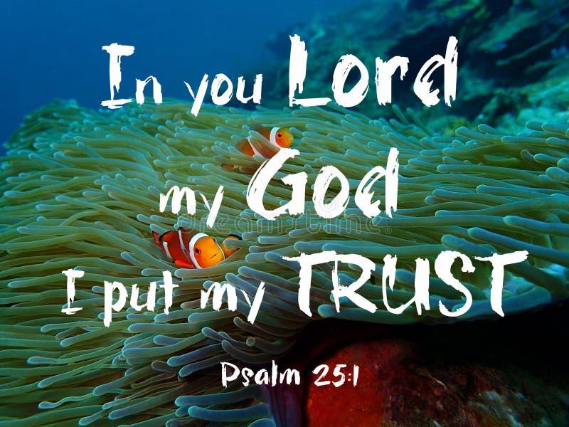 In voi signore mio dio ho messo la mia progettazione della fiducia per Cristianità con fondo subacqueo fotografia stock