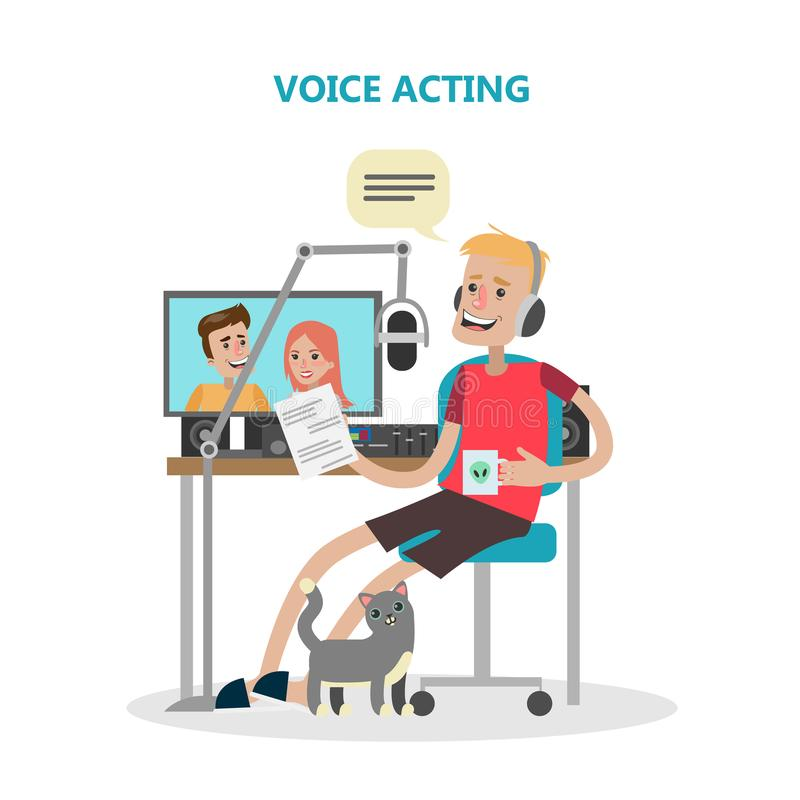 Voice acting man. Voice acting man with mic and tools. Dubbing the film or serial royalty free illustration