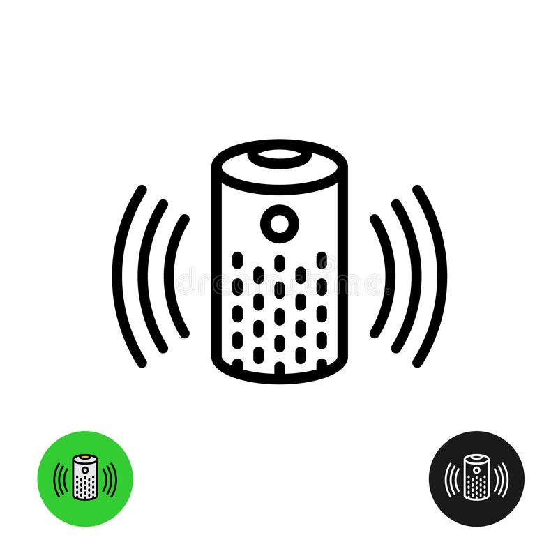 Voice assistant icon. Wireless speaker line symbol. Voice assistant icon. Wireless speaker linear style symbol with audio wave lines royalty free illustration