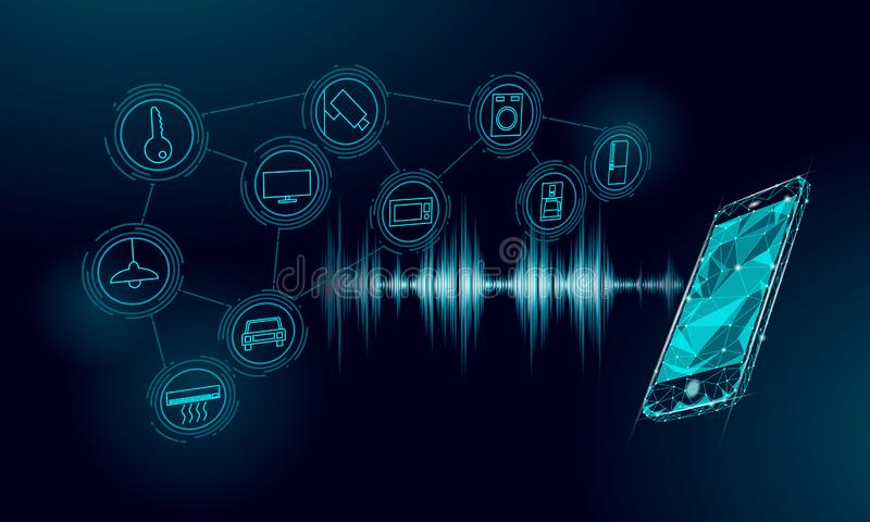 Voice assistant smart home control. Internet of things icon innovation technology concept. Wireless network soundwave stock illustration