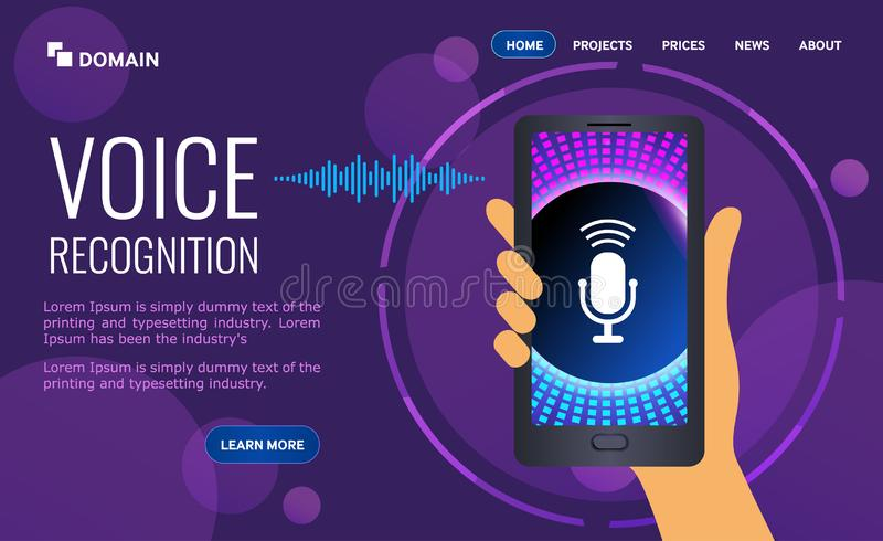 Voice biometrics technology for personal identity recognition and access authentication. Digital audio sound scanner on ultraviolet background. vector royalty free illustration