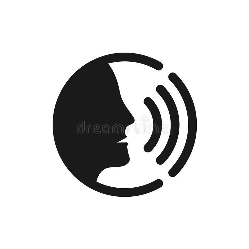 Voice command control with sound waves icon. Black man head silhouette speaking logo royalty free illustration