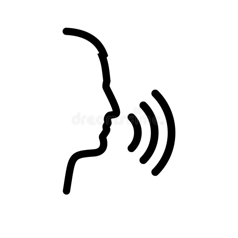 Voice control. Black icon speech recognition. Silhouette voice recognizer. Person talking. Audio assistance system. Vector illustration flat design. Isolated royalty free illustration