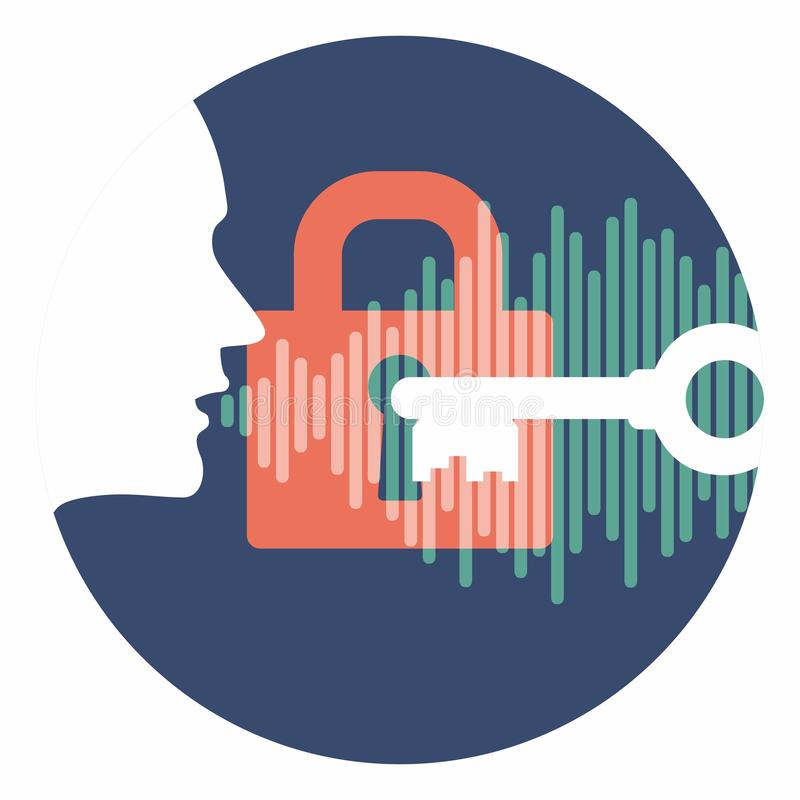 Voice id vector of profile head speaks audio of key password over lock. mobile phone voice security system logo in blue and white royalty free illustration