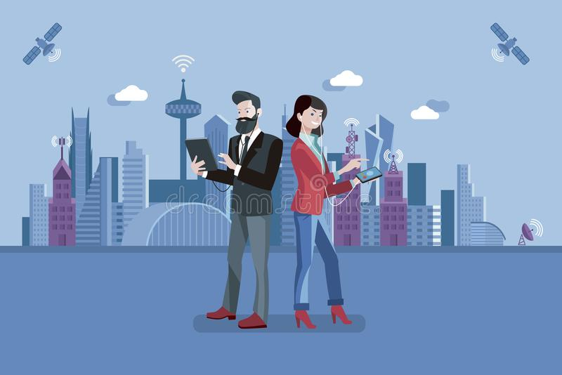 Voice Over Internet Protocol. Man and woman having a conversation through mobile and tablet using VoIP technology stock illustration