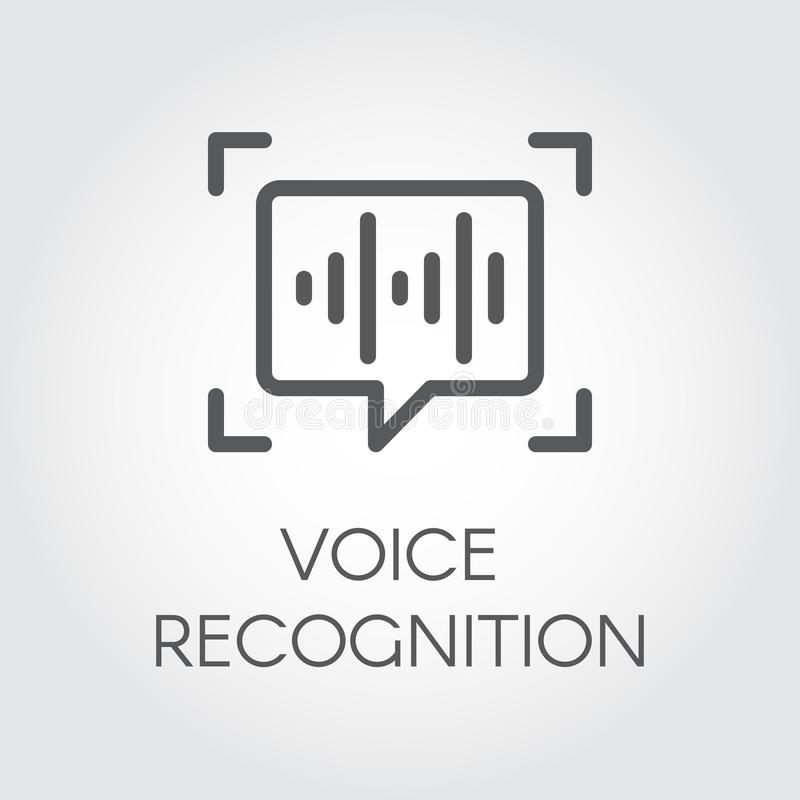 Voice recognition icon. Intelligent audio identification technology, sound verification. Chat panel and soundwave sign vector illustration