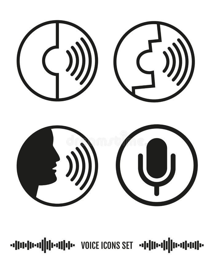 Voice Recognition Icons Set. Biometrics Illustration. Voice Recognition Icons Set. Vector elements. Biometrics Illustration vector illustration