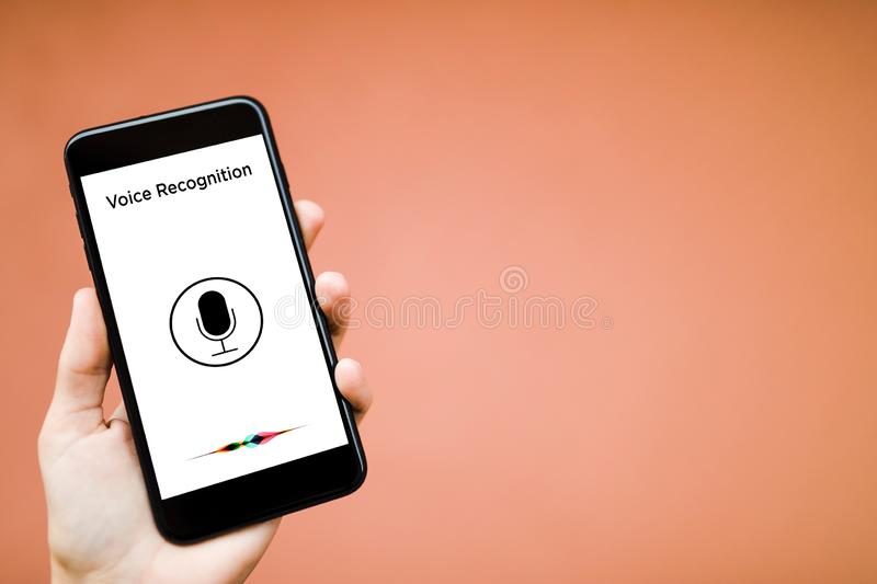 Voice recognition, Machine Learning. Voice recognition, Speech detect and deep learning concept. Application on mobile phone screen royalty free stock photo