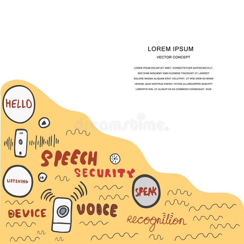 Voice recognition magazine page cartoon template. Hand drawn conceptual illustration for voice recognition, hand lettering and vector illustrations with copy stock illustration