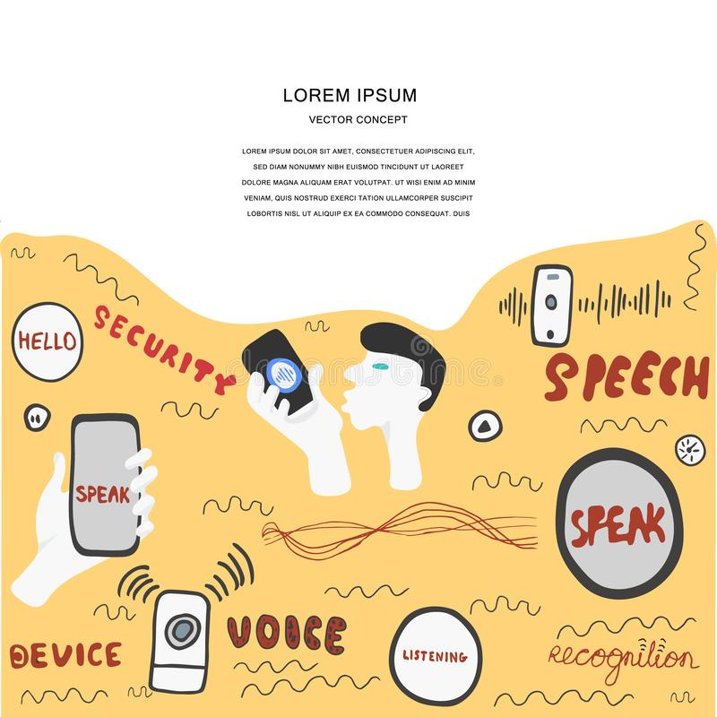 Voice recognition magazine page cartoon template. Hand drawn conceptual illustration for voice recognition, hand lettering and vector illustrations with copy vector illustration
