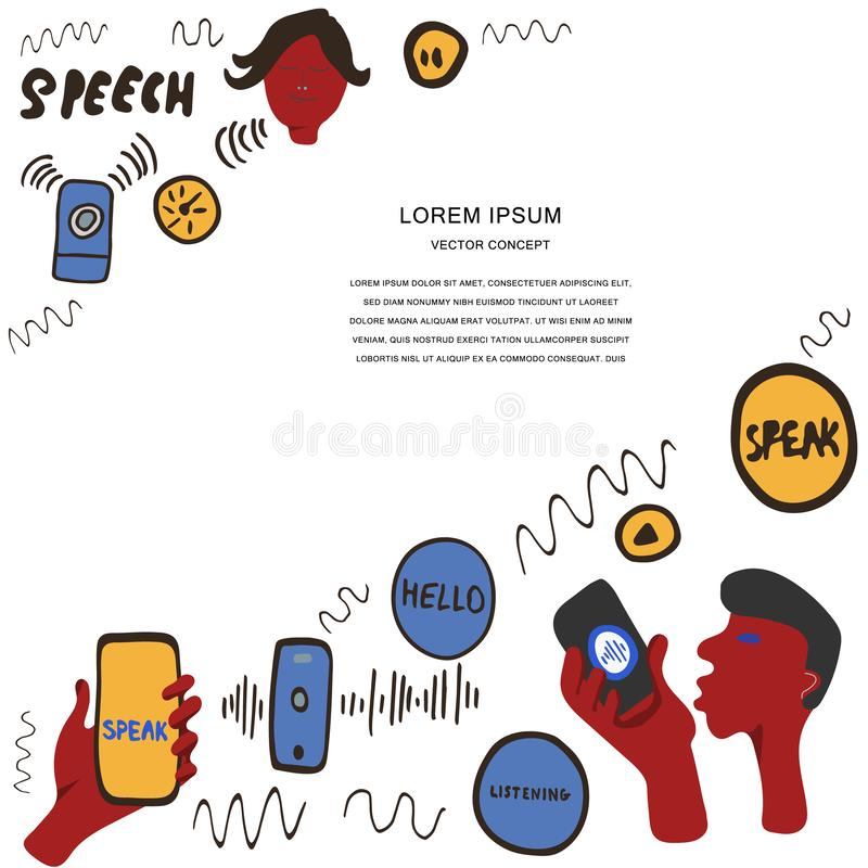 Voice recognition magazine page cartoon template. Hand drawn elements for voice recognition card template. Hand lettering and illustrations of gadgets. Space for royalty free illustration