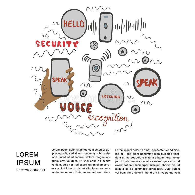 Voice recognition magazine page cartoon template. Hand drawn illustration and lettering for voice recognition in round shape with copy space on white background royalty free illustration