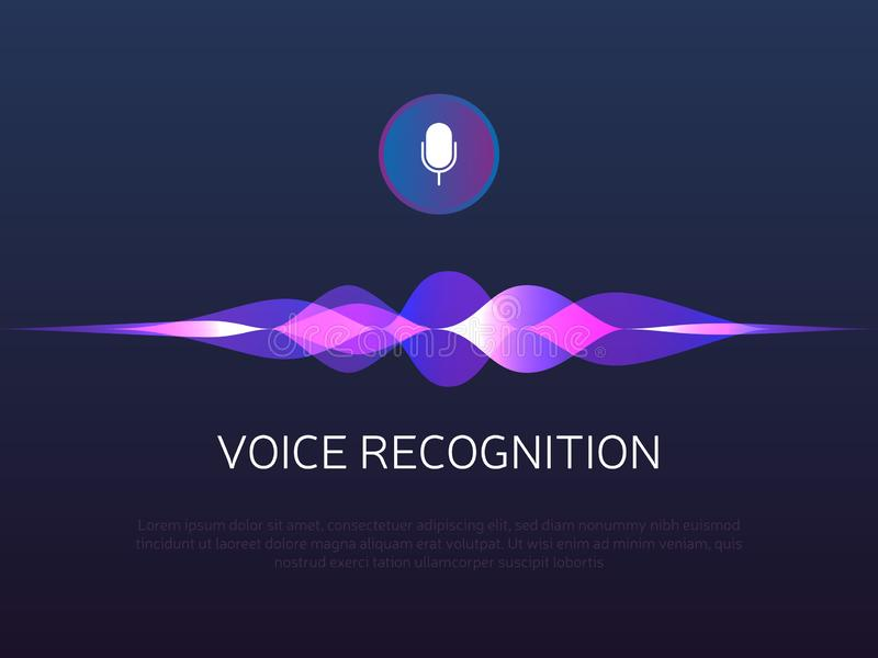 Voice recognition. Sound waves and microphone. Personal assistant and artificial Intelligence. Mic button with gradient vector illustration