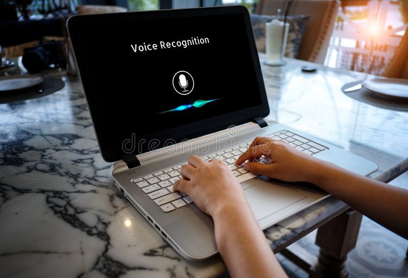Voice recognition, Machine Learning. Voice recognition , speech detect and deep learning concept. Application on computer screen stock images