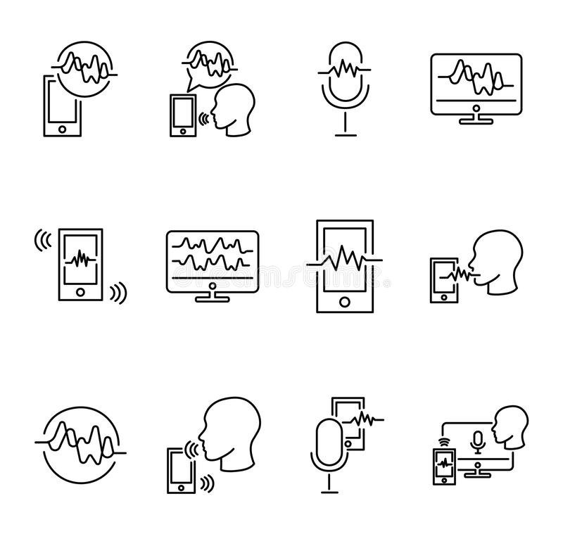Voice recognition vector illustration collection set. Technology of digital communication and talking. Signature and smart ID. Voice recognition vector royalty free illustration